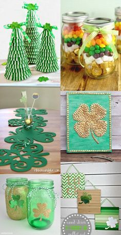 DIY St Patrick's Day Decorations and home decor. Make beautiful, easy, and frugal DIY decor for St Patrick's with green and rainbows with these lucky 28 DIY St Patrick's Day Decorations ideas. Crafts To Make, Crafts For Kids, Diy Crafts, St Patrick's Day Decorations, St Patricks Day Food, Candy Crafts, St Paddys Day, Luck Of The Irish, Holiday Crafts