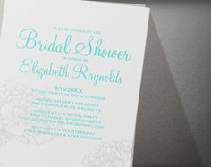 Custom Modern Teal Silver Bridal Shower Invitation