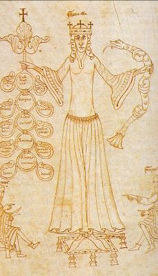 Paris 1140 Boethius, Anicius Manlius Severinus.  I REALLY like the clear pleating of the skirt into the bodice and the unusual sleeves.  The manuscript info is here http://tudigit.ulb.tu-darmstadt.de/show/Hs-2282