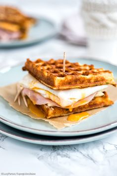 Parmesan waffle, ham, cheese and egg sandwich perferct for brreakfast, brunch or light lunch | supergolden bakes
