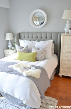 In love with this chic upholstered headboard! Layer luxurious textures in light, airy hues and you've got a sweet retreat.