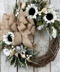 Diy Fall Wreath, Autumn Wreaths, Easter Wreaths, Summer Wreath, White Wreath, Spring Wreaths, Holiday Wreaths, Fall Door Decorations, Fall Wedding Decorations