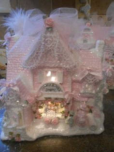 shabby pink victorian christmas  village candle shop house   chic roses glitter 406 dec 13