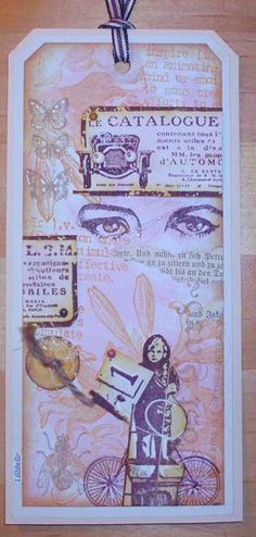 mixed media tag, stamped by Lillibelle http://lillibelles.blogspot.com/