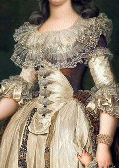 Robe a la Circassian detail. Marie Antoinette was constantly criticiz. - Art - Robe a la Circassian detail. Marie Antoinette was constantly criticized for her fashion - 18th Century Dress, 18th Century Costume, 18th Century Clothing, 18th Century Fashion, 17th Century, Historical Costume, Historical Clothing, Vintage Outfits, Vintage Fashion