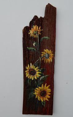 Sunflowers painted on antique barn wood. Sunflowers Painted on Barn… Pallet Painting, Pallet Art, Tole Painting, Painting On Wood, Pallet Beds, Barn Wood Signs, Old Barn Wood, Salvaged Wood, Barn Board Projects