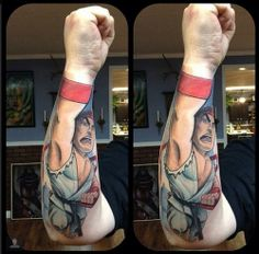 Street Fighter's Ryu- done by Schwab. Just amused how the cartoon's fist merges with the person's.