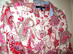 Coupe Collections long sleeve button front long Paisley Pink Blouse Large #Coupe #Blouse