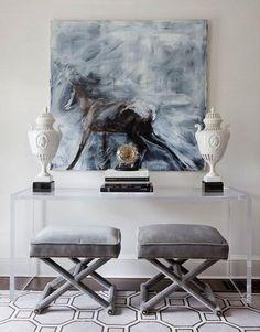 contemporary-living-room-vignette-glass-console-equine-art