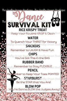 Dance Survival Kit, Survival Kit Gifts, Dance Team Gifts, Cheer Gifts, Big Sis Lil Sis Gifts, Dance Convention, Gymnastics Competition, Gymnastics Gifts, Image Sheet