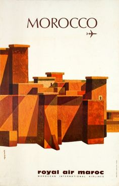Morocco Royal Air Maroc, 1970s - original vintage poster by M. Gayraud listed on AntikBar.co.uk