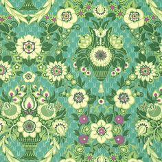 """Amy Butler PWAB137 Violette Garedn Fete Grass Green Quilting 18"""" BTHY Rowan Westminster Half Yard 18"""" Quilt Fabric HY Floral Designer Mod by KinshipQuilters on Etsy"""