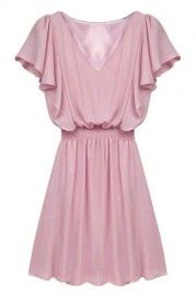 ROMWE Falbala Elastic V-neck Sheer Pink Dress