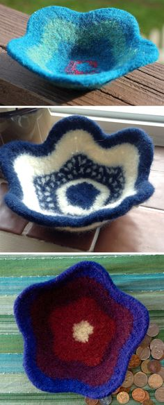 Free Knitting Pattern for Easy Felted Flower Bowl - Easy and fun project faccording to Ravelrers. Great first felting project and perfect for stash busting or self-striping wool yarn. You are only limited by your imagination. Designed by Meg Kealey (Myers). Pictured projects from top by sarahsthreads, daydreams, and the designer.