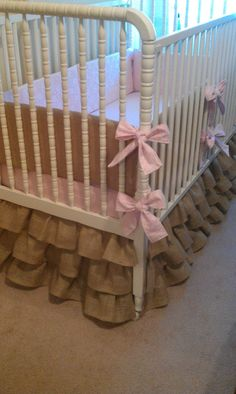 Custom Made to Order Burlap Baby Bedding ruffled crib skirt Burlap Nursery, Burlap Baby, Nursery Decor, Nursery Ideas, Baby Crib Diy, Baby Cribs, Baby Bedding, Deco Kids, Baby Mine