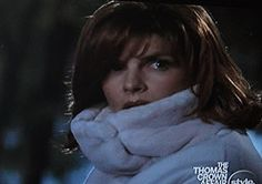 """Great high collared coat. I love Renee Russo's wardrobe in """"The Thomas Crown Affair"""" ."""