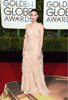 Golden Globes 2016: Rooney Mara wore an Alexander McQueen spring '16 gown and Jimmy Choo Pearl sandals.