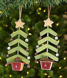 Dillards Trimmings Near and Deer 7 Wood Tree with Bell Ornaments Set of 2 #Dillards