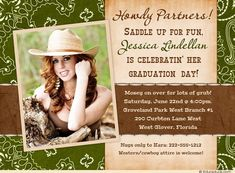 Western Cowgirl Graduation Party Invitation - Saddle Up Photo Fun 2015