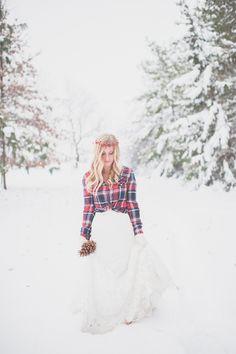 Plaid + Snow Bridal Shoot  Read more - http://www.stylemepretty.com/indiana-weddings/2014/03/24/plaid-snow-bridal-shoot/