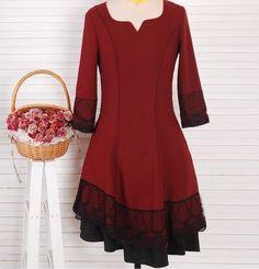 Red / Blue  dress lace dress women dress fashion dress Long sleeve dress---WD160 on Etsy, $98.99