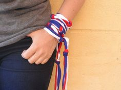 Wear this boho handmade knotted 4th of July bracelet for your Independence Day celebrations or the Soccer World Cup. Long enough to wrap it around your wrist several times, leave the strings hanging, wear it as a short or long necklace, belt, or 4th of July headband for adult. More designs and colors in my handmade jewelry shop. #4thofJuly #jewelry #headband #COLOROGY