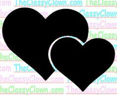 Double hearts glitter tattoo stencil...