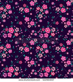 "Cute Floral pattern in the small flower. ""Ditsy print"". Motifs scattered random. Seamless vector texture. Elegant template for fashion prints. Printing with very small pink flowers. Violet background."