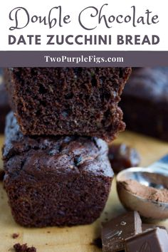No one will guess that the secret ingredient for this decadent moist chocolate loaf cake is shredded zucchini! #doublechocolatebread #zucchinibread #sweetbread #easyrecipe | twopurplefigs.com @twopurplefigs Easy No Bake Desserts, Easy Baking Recipes, Healthy Dessert Recipes, Delicious Desserts, Healthy Food, Dinner Recipes, Chocolate Loaf Cake, Chocolate Zucchini Bread, Chocolate Desserts
