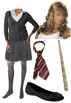 Hermione Granger (add green/silver tie for random Slytherin) Easy Costumes, Adult Costumes, Halloween Costumes, Halloween Ideas, Costume Ideas, Halloween Party, Hermione Granger Halloween Costume, Hermione Costume, Harry Potter Style