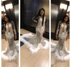 Shiny Silver Sequins White Feather Skirt Mermaid Prom Dresses for Black Girls Plunging V-neck Long Sleeves Graduation Party Dress Pageant Gowns sold by hurrliprom on Storenvy Prom Girl Dresses, Prom Outfits, Mermaid Prom Dresses, Classy Outfits, Homecoming Dresses, Wedding Dresses, Dresses Dresses, White Feather Skirt, Pretty Dresses