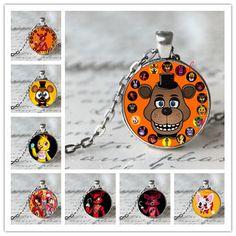5 Cinco Noches en Juguetes Collar de Freddy FREDDY FAZBEAR Scrabble Tile Colgante, collar cabochon de cristal de regalo de navidad para niños