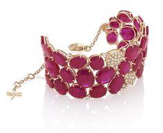 Oro rosa 18 kt,rubini e diamanti