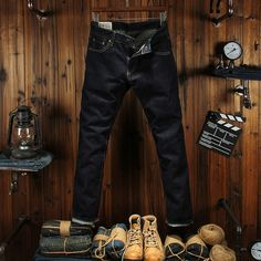 >> Click to Buy << High Quality Straight Fit Men Jeans Dark Color Raw Denim Original Color Wash Red Line Fashion Classic Jeans Men Business Pants #Affiliate