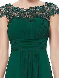 A classic feminine full length lace embellished dress in a beautiful emerald green colour Pleated sweetheart neckline bodice with a lace overlay