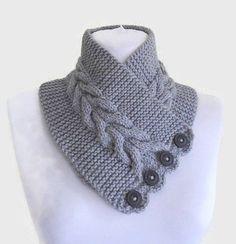 Grau, Halswärmer, Hand gestrickte, einzigartiges Geschenk, Men Schal, gemütlich, Unisex, Wintermode