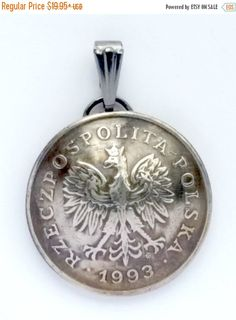 Check out SALE - Poland Eagle Coin Jewelry,Domed Coin Pendant,Polish Eagle Coin Necklace,World Coin Jewelry,Foreign Coin Jewelry,Poland Eagle 1990 - 2 on silverheronstudios