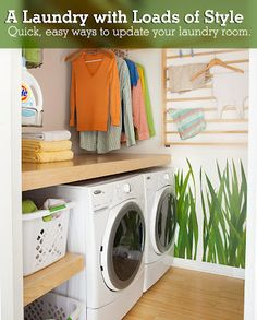 small laundry room makeover ideas 20 Small Laundry Room Ideas : White and Clean Solutions Except for the wallpaper, I love this. Laundry Room Counter, Laundry Room Shelves, Small Laundry Rooms, Laundry Room Design, Laundry Baskets, Laundry Area, Basement Laundry, Laundry Decor, Bathroom Shelves