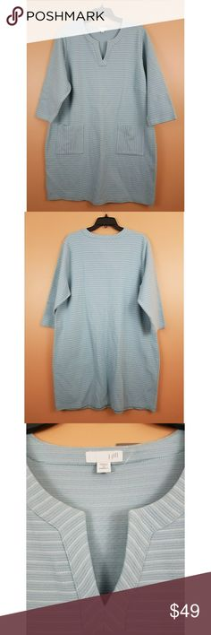 J. Jill Striped Shift Dress NWT shift dress from J Jill. Light blue dress with white horizontal stripes. Vneck with two pockets on the front. Slip on design. 89% cotton, 9% polyester, 2% spandex. Size 2X. Approx measurements: 23.5in bust; 38in length. J. Jill Dresses