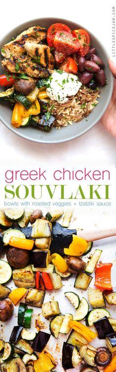 Greek Chicken Souvlaki Bowls with Roasted Veggies - A simple #mealprep meal…