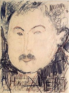 Modigliani, Amedeo (1884-1920) - 1916 Portrait of Adolphe Basler (Brookly Museum, New York City) Conté crayon; 29.5 × 22.1 cm.