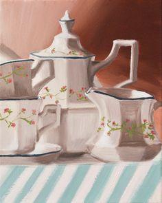 Original Oil Painting on Canvas  Tea Pot by KicoART on Etsy