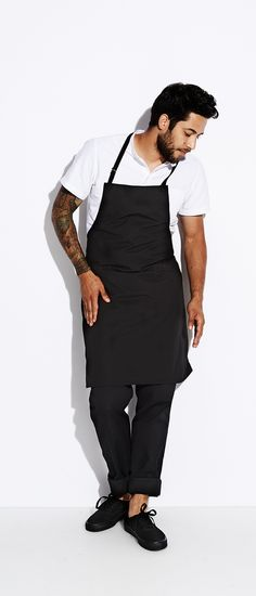 Simple classic  clean chef style... Stalwart Apron in Black, Work Pants, Work-shirt all via Tilit Chef Goods.