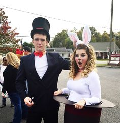 Magician and a bunny in a hat Halloween couple costume                                                                                                                                                                                 More