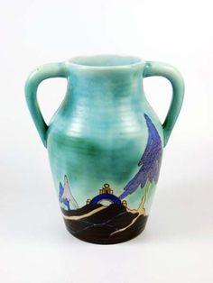 Clarice Cliff Bizarre 'Inspiration' two-handled Lotus Vase #ukauctioneers