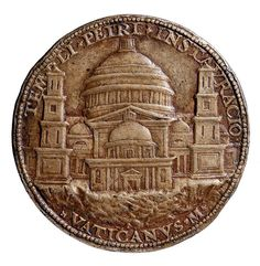The foundation medal of 1506 shows the elevation of Bramante's first project for the St Peter in Rome. British Museum, London.