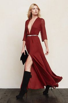 A plunging neckline, paired with a high slit, makes this dress an absolute show stopper. The Reformation Hall Dress in Pompeian, $298, available at The Reformation.