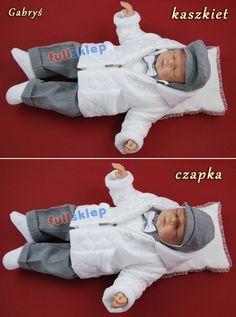 Kompletny garniturek do chrztu dla chłopca na zimę do wyboru kaszkiet lub czapka.