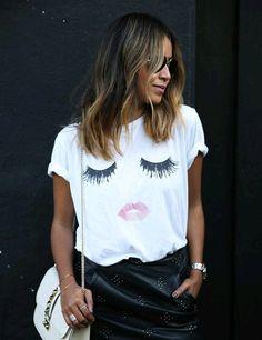 Sexy women T-shirt Eyelashes sexy lip print