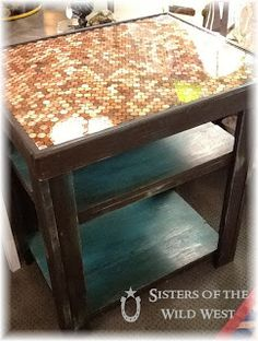 Sisters of the Wild West: Penny Tiled Table Furniture Projects, Furniture Making, Diy Furniture, Diy Projects To Try, Home Projects, Penny Table Tops, Tile Tables, Penny Tile, A Table